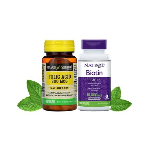 Combo Hỗ Trợ Mọc Râu Nhanh Đen Biotin & Folic