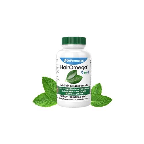 DHT Blocker - Viên Uống HairOmega 3 in 1 có 28 Thành Phần Bổ Sung Vitamin Tăng Trưởng Tóc, Da & Móng